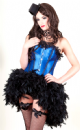 Midnight Blue Satin Corset Feather Bustle Dress (Lydia Blue)